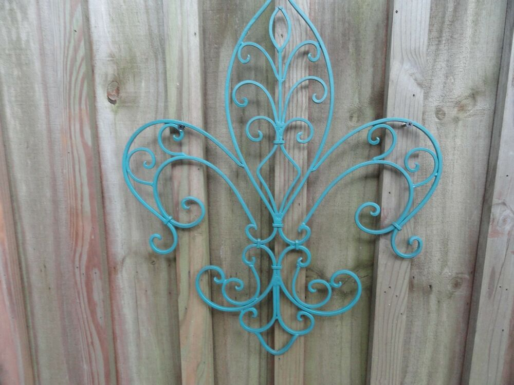 fleur de lis metal decor iron work shabby chic wall decor beach decor ebay. Black Bedroom Furniture Sets. Home Design Ideas