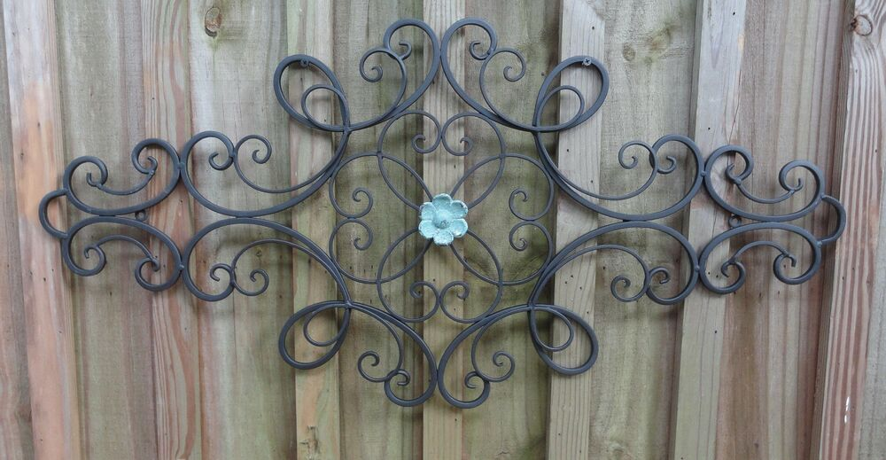 Iron Metal Wall Decor Distressed Flower Wall Art Shabby