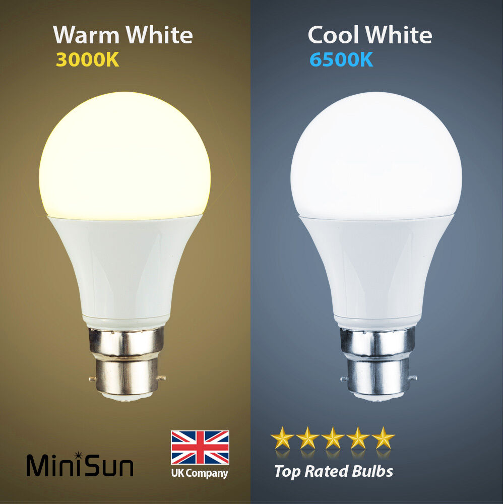 minisun 6w 10w led 60w 100w bc b22 gls lamp light bulbs warm or cool day white ebay. Black Bedroom Furniture Sets. Home Design Ideas