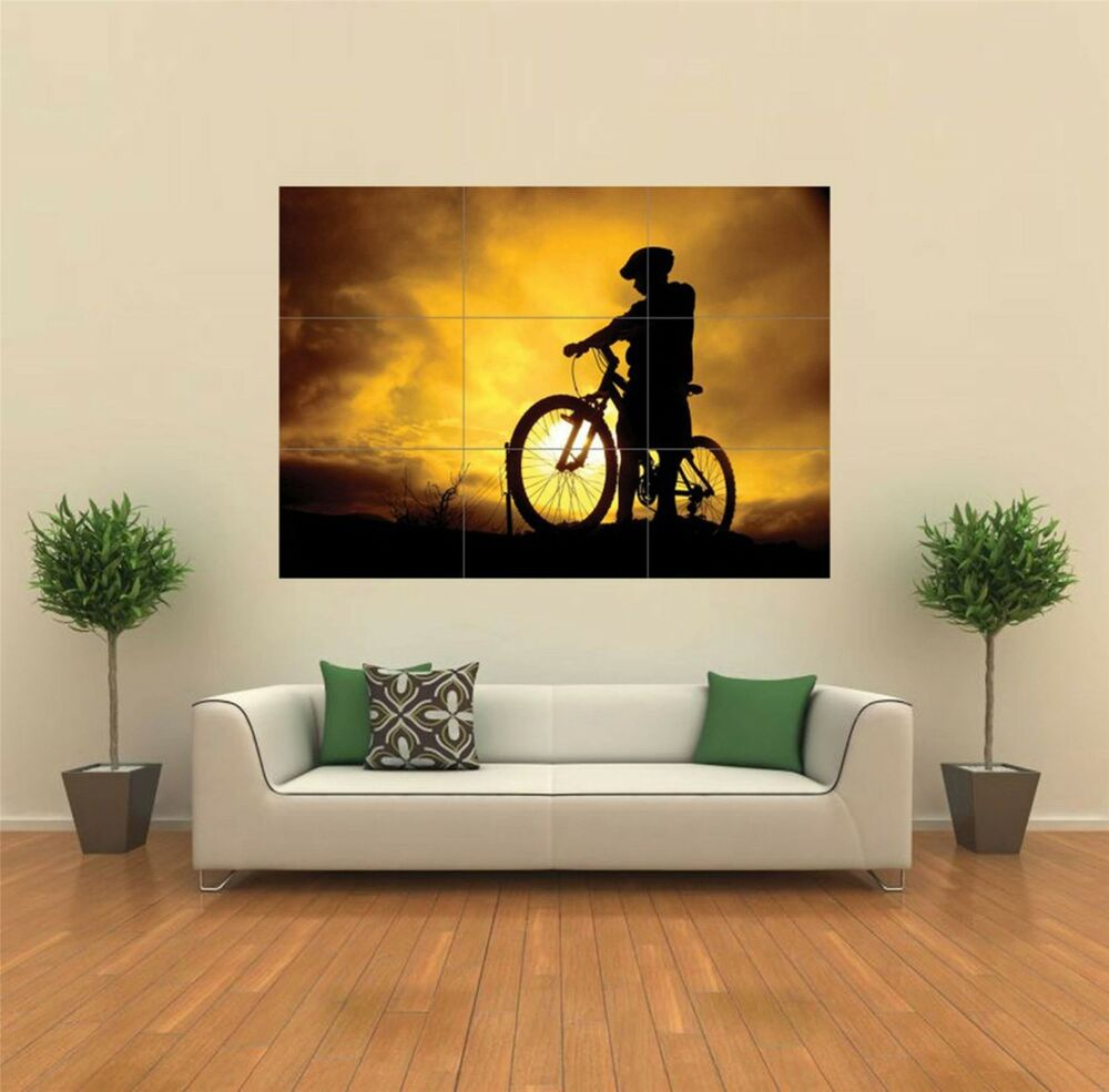 Mountain bike silhouette sport new giant poster wall art for Silhouette wall art