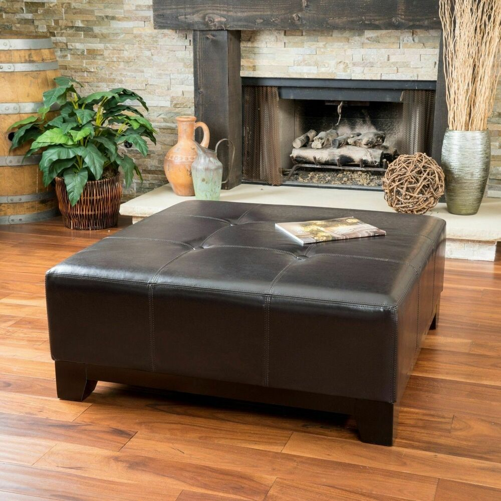 Ottoman Coffee Table With Sliding Wood Top: Elegant Espresso Brown Leather Ottoman Coffee Table W