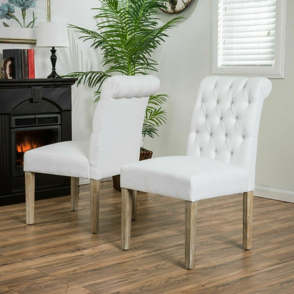 Dining Room Benches With Backs: Set Of 2 Elegant Roll-Back Tufted White Linen Upholstered
