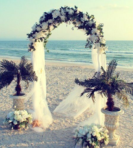 "Wedding Arch Decoration Ideas: 7.5FT WHITE METAL ARCH + 54""x40Yards TULLE Wedding Party"