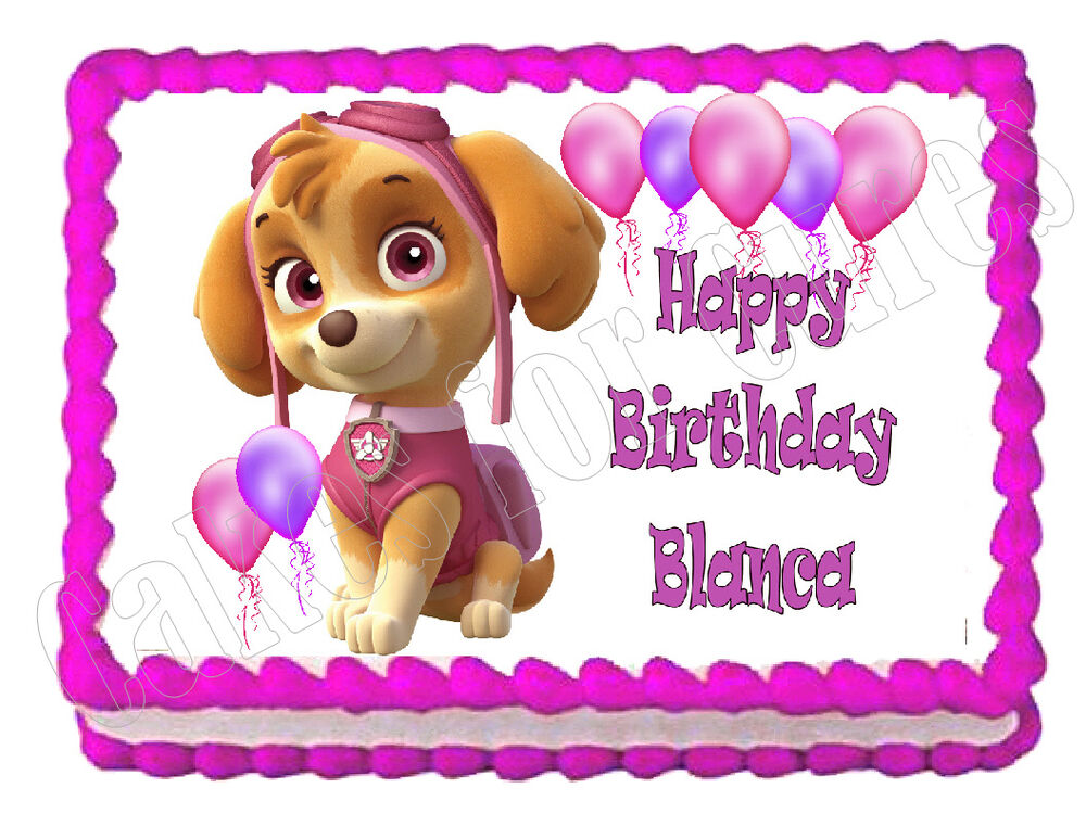 PAW PATROL SKYE Edible Party Cake Topper Decoration