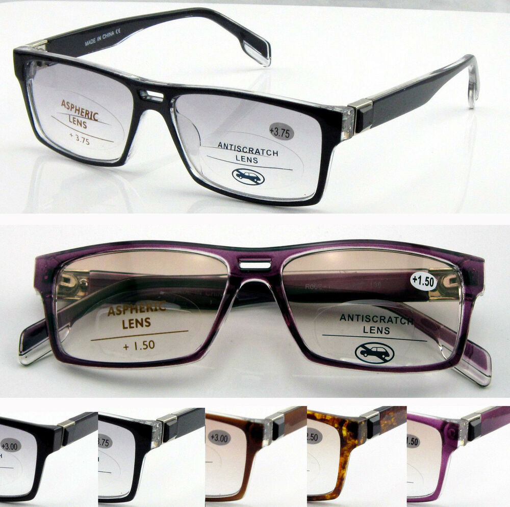 Reading Glasses Large Frame : SL148 Plastic Bifocal Light Tinted lens Reading Glasses ...