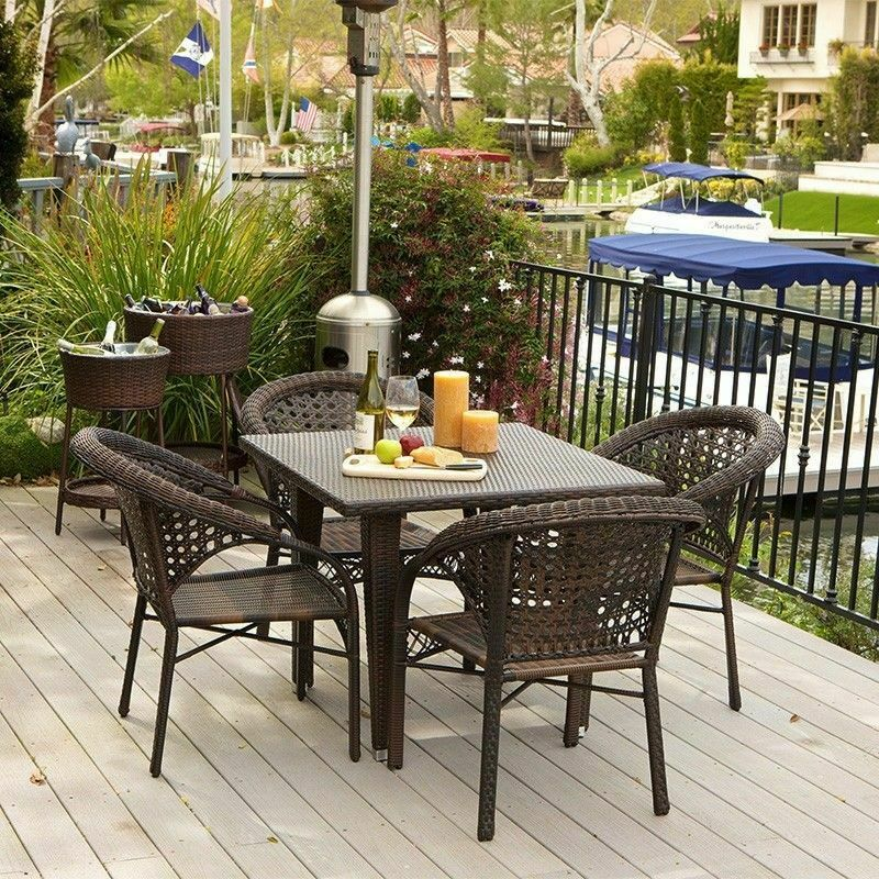 5 piece set outdoor patio furniture brown all weather for All weather outdoor furniture