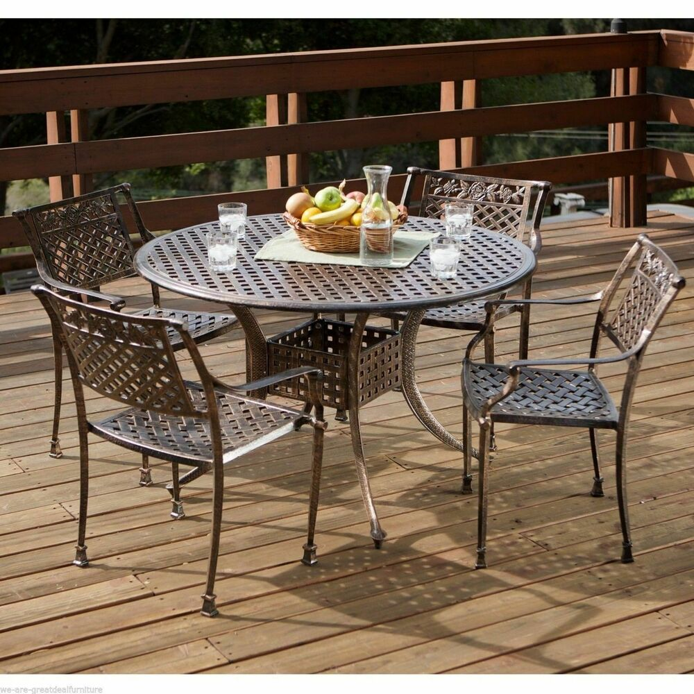 5pcs Outdoor Patio Furniture Cast Aluminum Dining Set