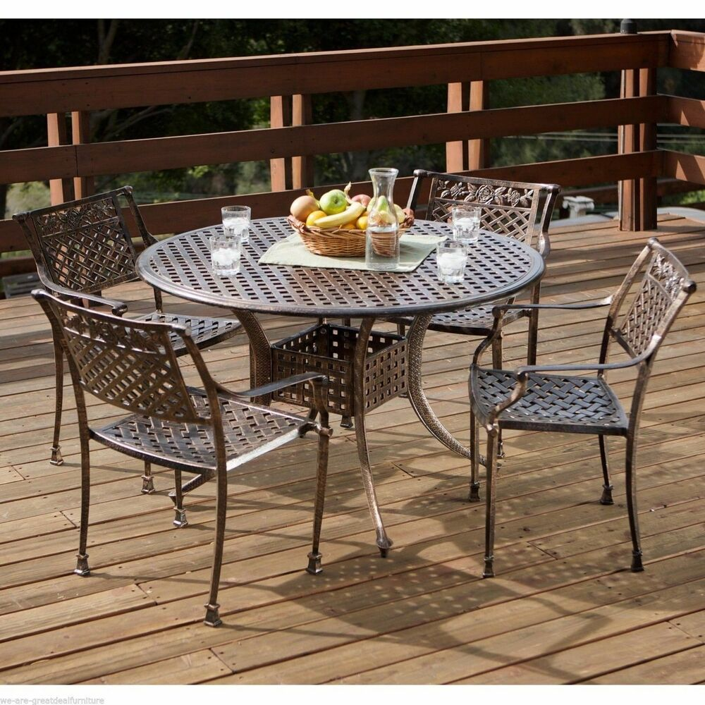5pcs Outdoor Patio Furniture Cast Aluminum Dining Set Ebay