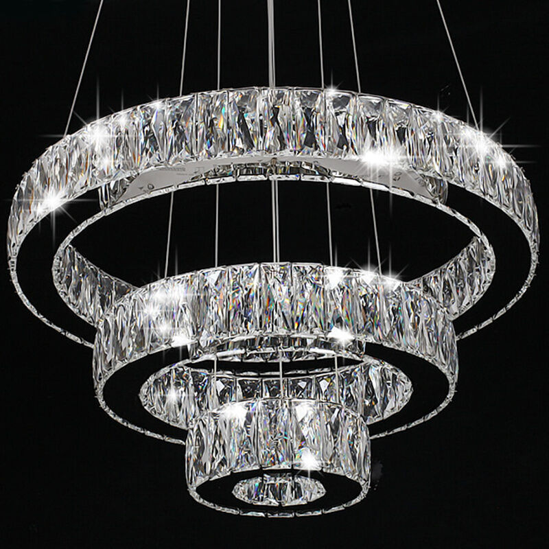 Hanging Light Round: Modern Crystal Round Ring LED Pendant Lamp Ceiling Lights