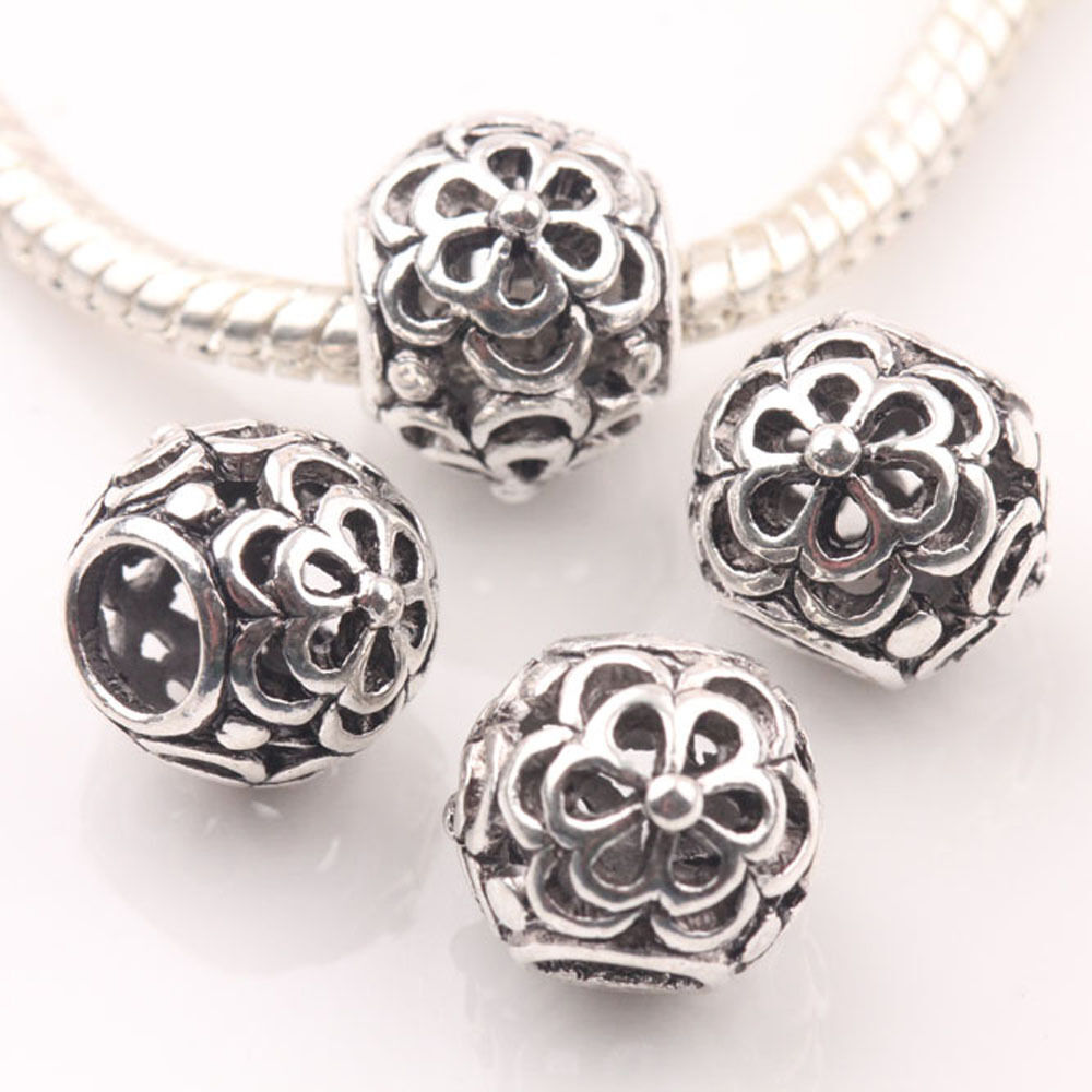 10Pcs Tibetan Silver Charms Spacer Big Hole Beads Jewelry ...