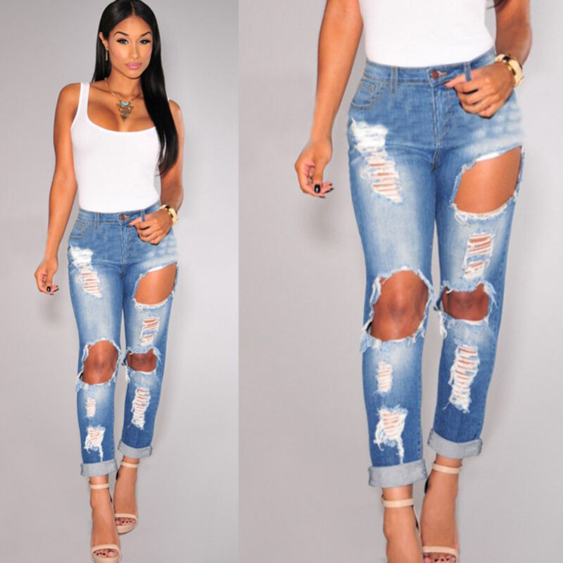 ... Stretch Destroyed Ripped Distressed Slim Skinny Jeans Pants | eBay