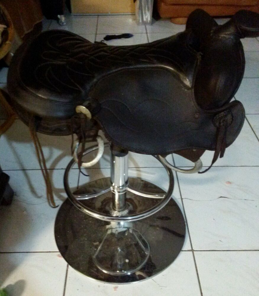 Custom Crafted Western Saddle Bar Stool Ebay