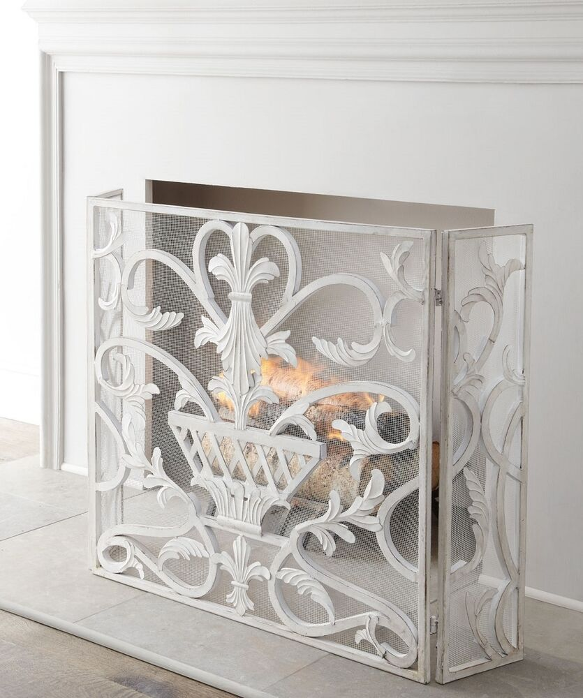 French Country Tuscan Urn Fleur De Lis Antique White Fireplace ...