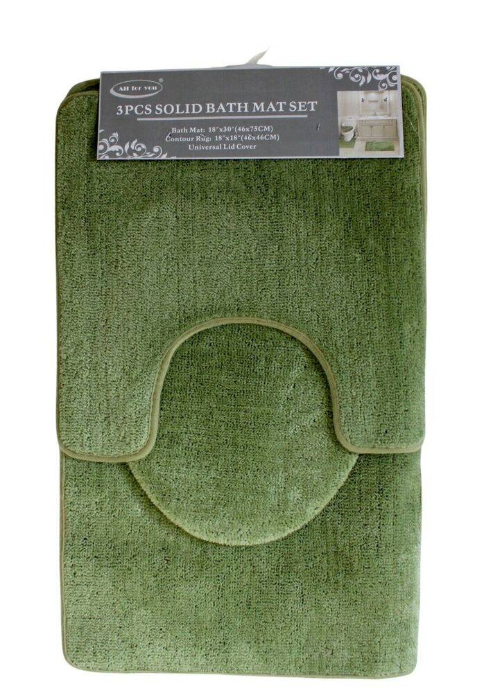 Bath Rug Set Walmart: 3 Piece Bath Rug Set Burgundy Bathroom Mat Contour Rug Lid