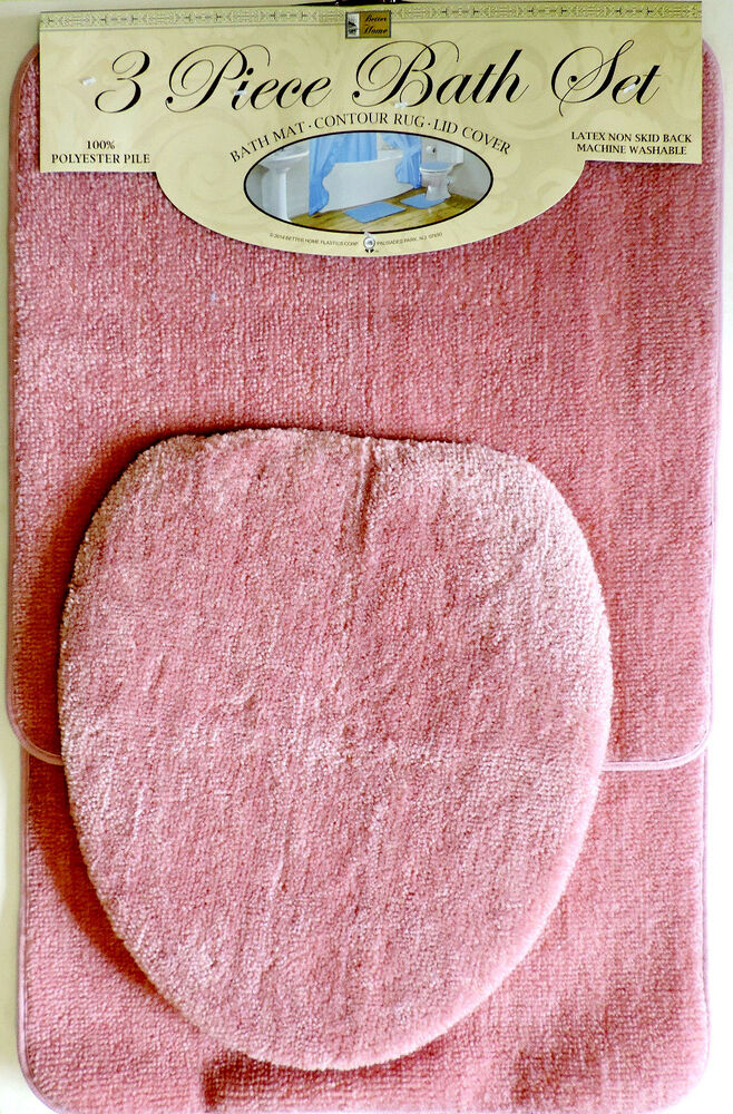 3 Piece Bath Rug Set Pink Bathroom Mat Contour Rug Lid