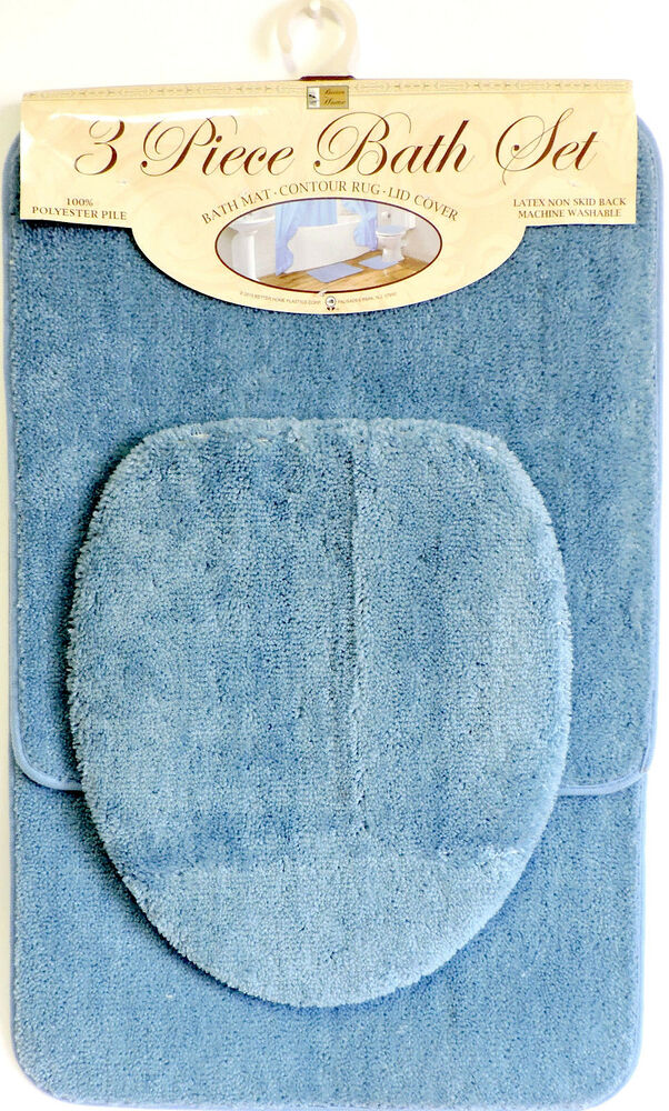 Bath Rug Set Walmart: 3 Piece Bath Rug Set Blue Bathroom Mat Contour Rug Lid
