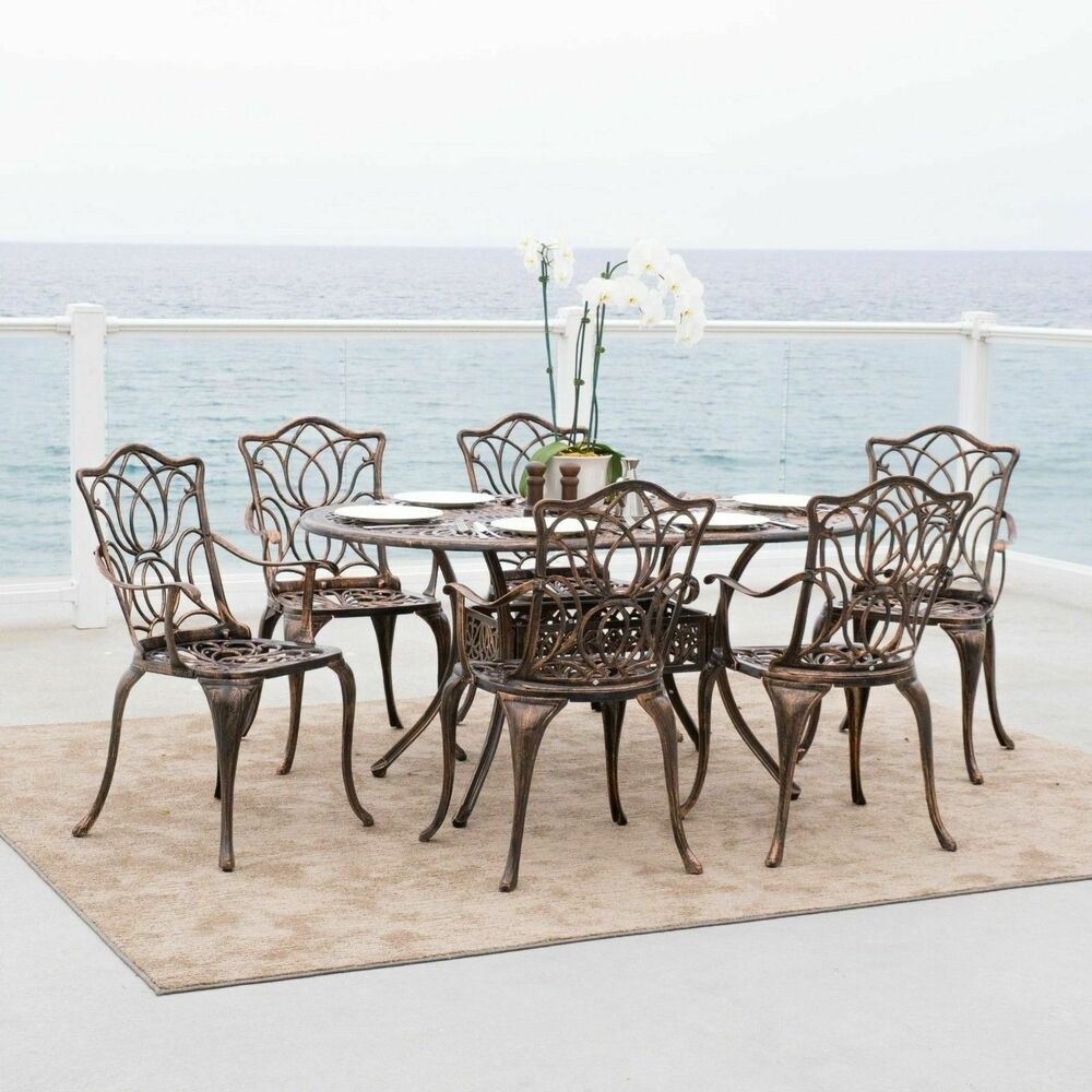 7 piece outdoor patio furniture antique copper cast for Outdoor patio dining