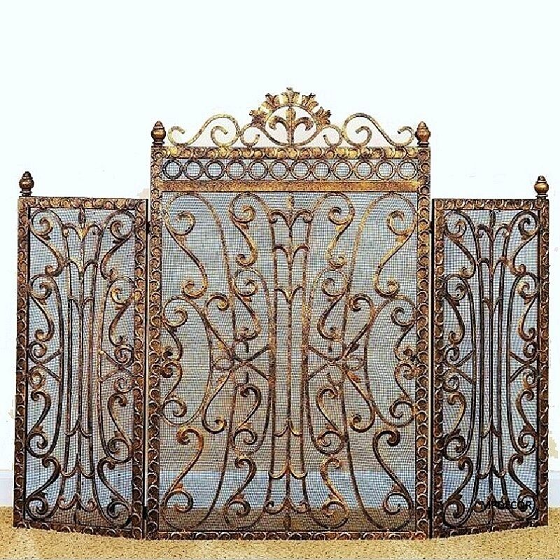 fleur de lis regal burnished antique gold fireplace screen french country tuscan ebay. Black Bedroom Furniture Sets. Home Design Ideas