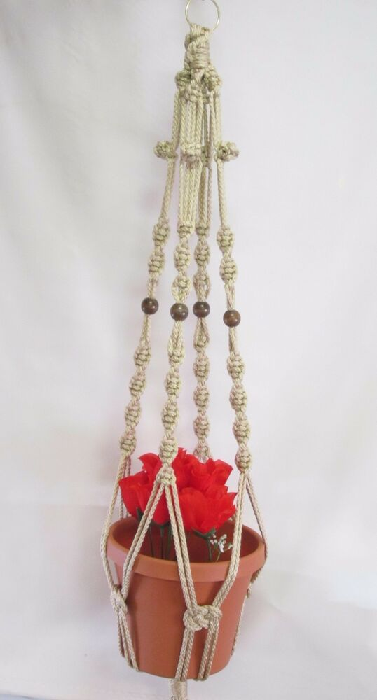 macrame history macrame plant hanger 39in with buttonknot 6mm pearl 9139