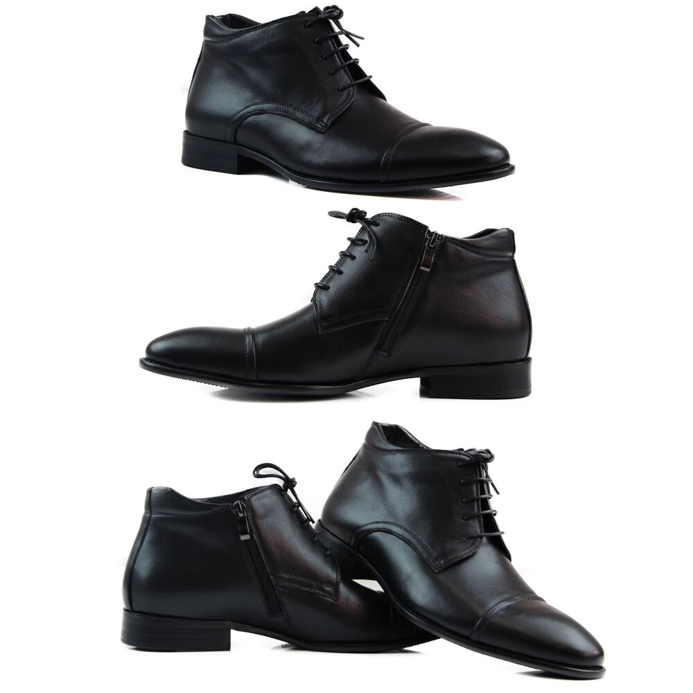 mens black zasel formal casual leather lace up with zip