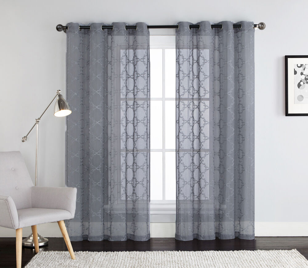 Gray embroidered sheer window curtain panel grommets for Window panel design