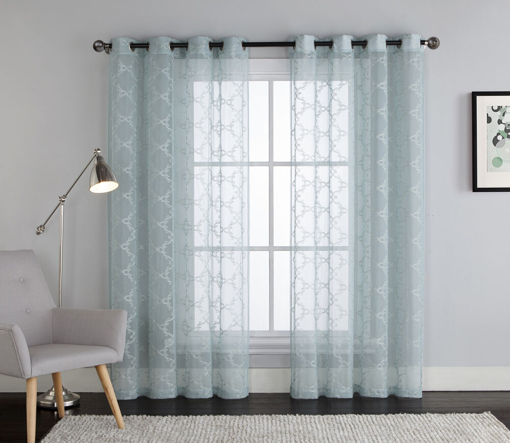 blue embroidered sheer window curtain panel grommets trellis design ebay. Black Bedroom Furniture Sets. Home Design Ideas