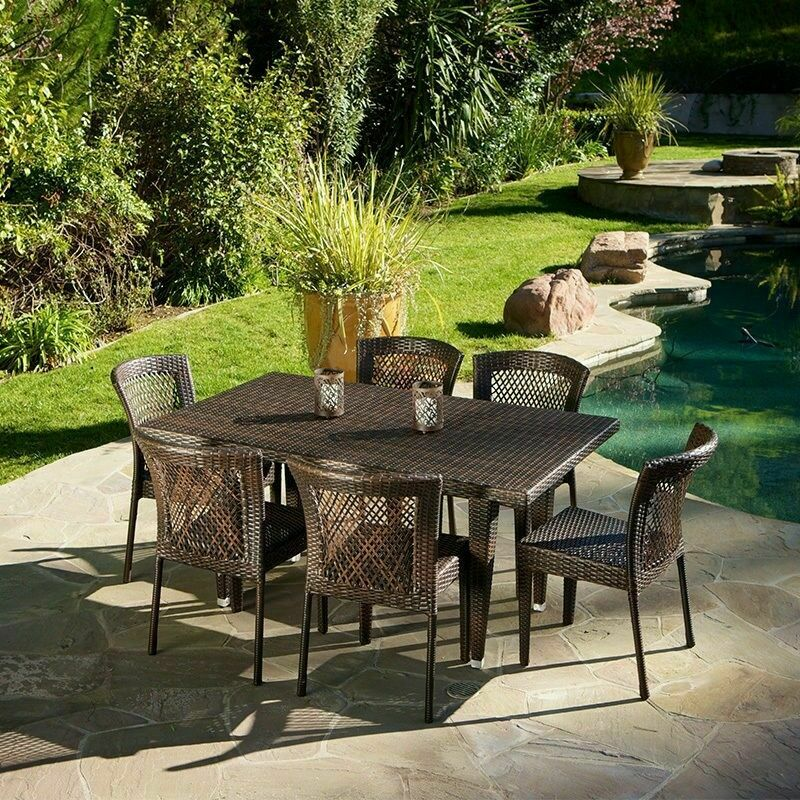 7 Piece Outdoor Patio Furniture Brown All Weather Wicker Dining Set