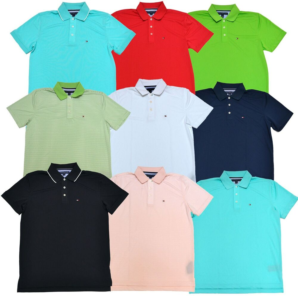 Tommy hilfiger polo shirt mens lightweight mesh polyester for Men s polyester polo shirts