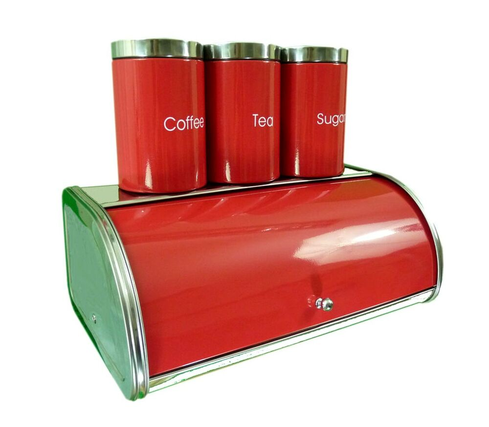 Stainless steel bread bin set red bread tea coffee sugar for Kitchen set red
