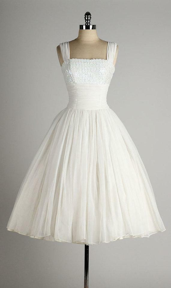 Vintage 1950 39 tea length wedding dresses short white for 1950 wedding dresses tea length