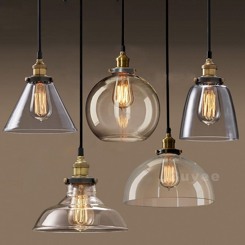 Lite Up Glass Lamps : Vintage industrial filament clear glass brass chrome