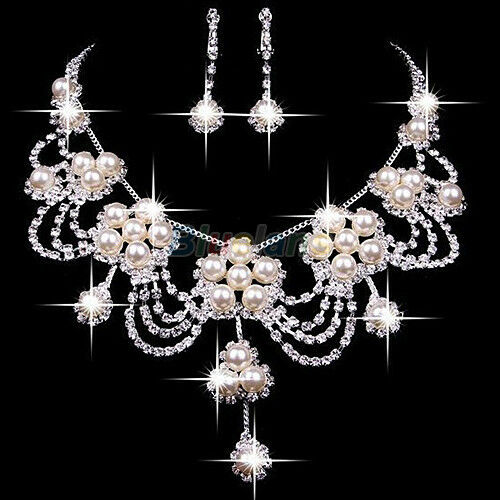 s luxury rhinestone faux pearl necklace earring