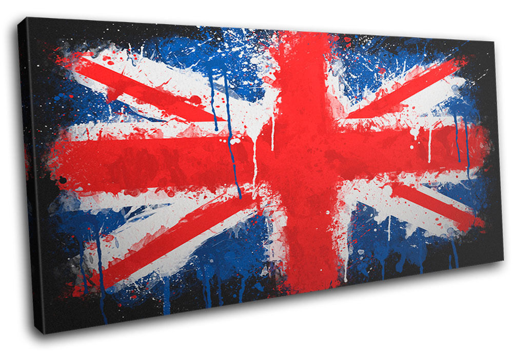 Union Jack Paint Drip Abstract Canvas Wall Art Picture