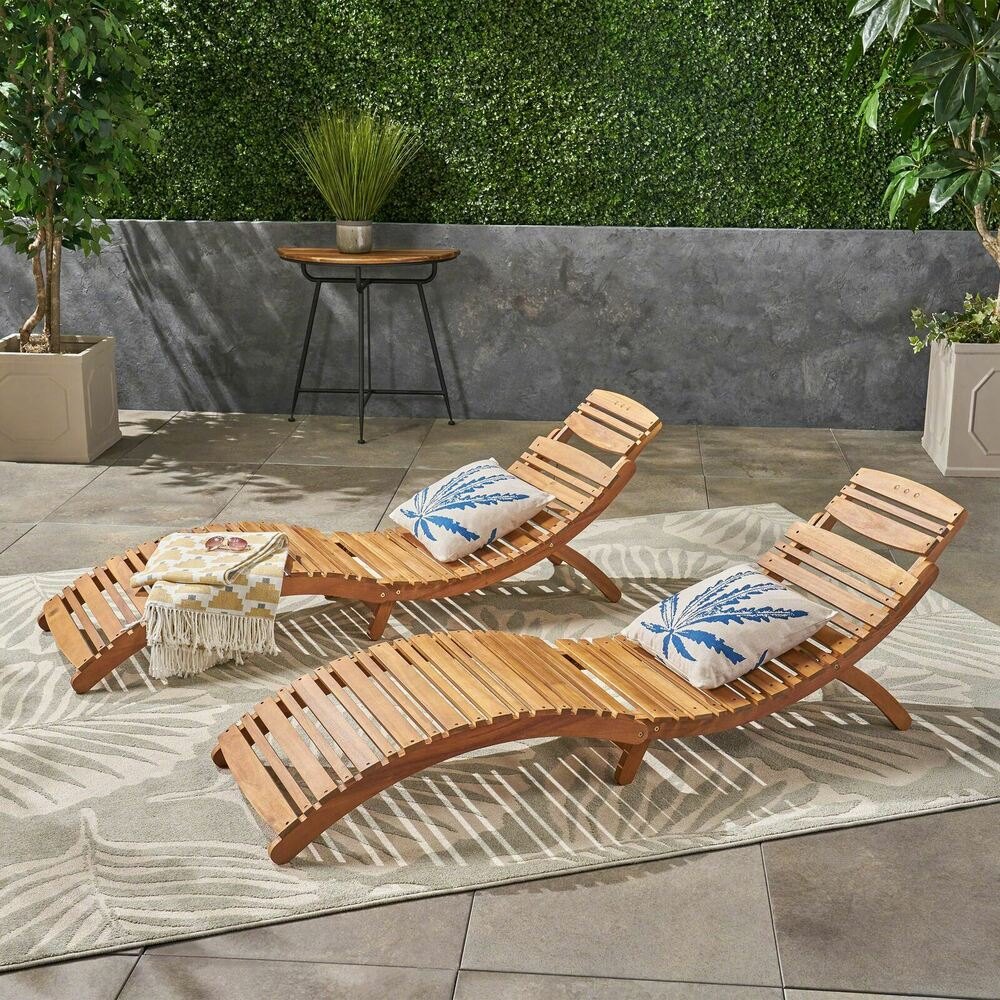 Set Of 2 Outdoor Patio Furniture Folding Portable Chaise Lounge Chair