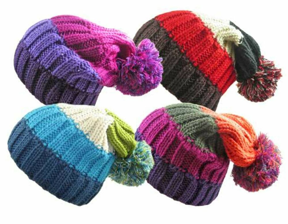 Ladies Chunky Stripe Knitted Slouch Beanie Hat With Pom Pom Winter Woolly Hat...