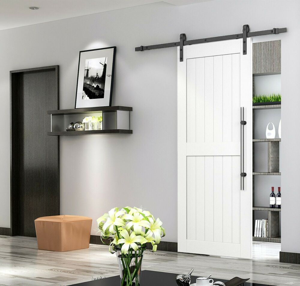 8ft sliding barn door wood door hardware rustic black barn for Barnwood pocket door