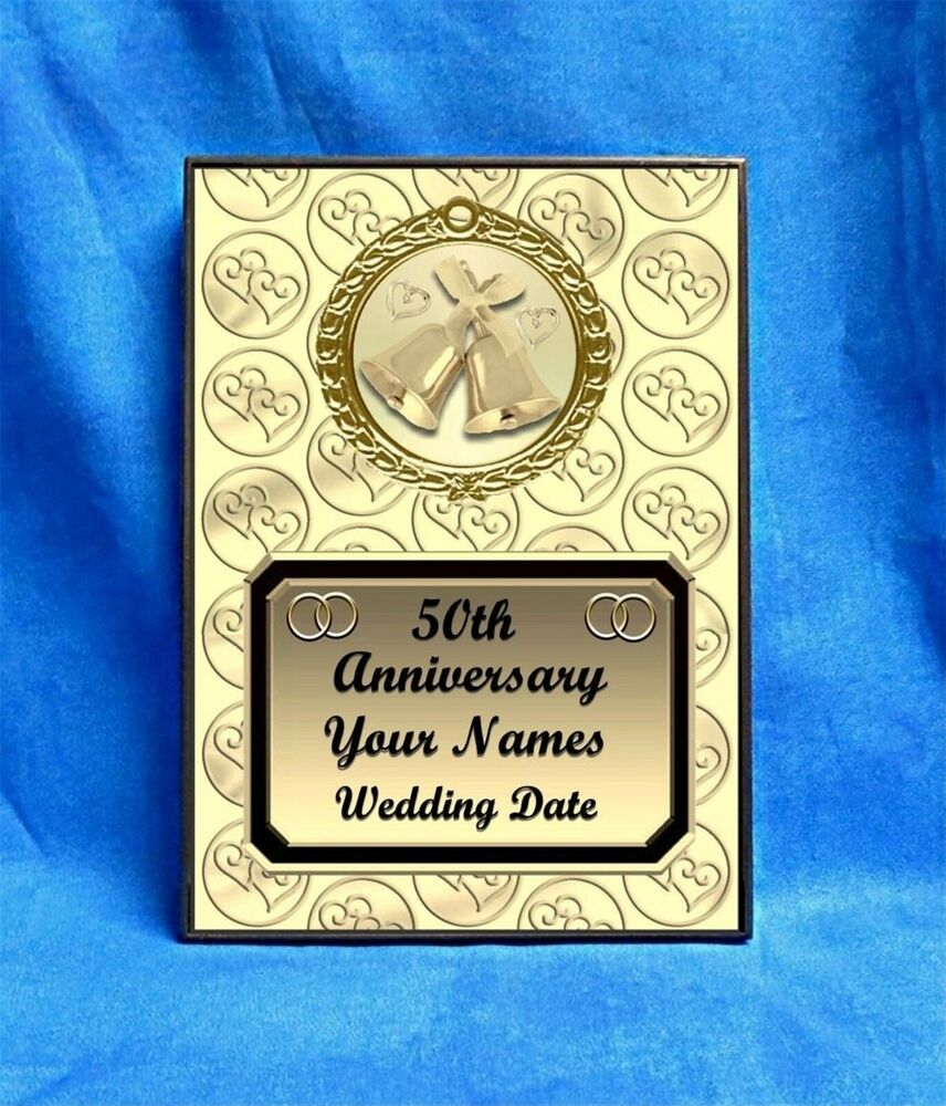 anniversary 50th gold custom personalized award plaque gift wedding marriage ebay. Black Bedroom Furniture Sets. Home Design Ideas