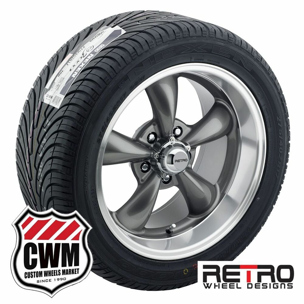 Details about 17 inch 17x7 17x9 staggered gray wheels rims tires for ford mustang 1967 73