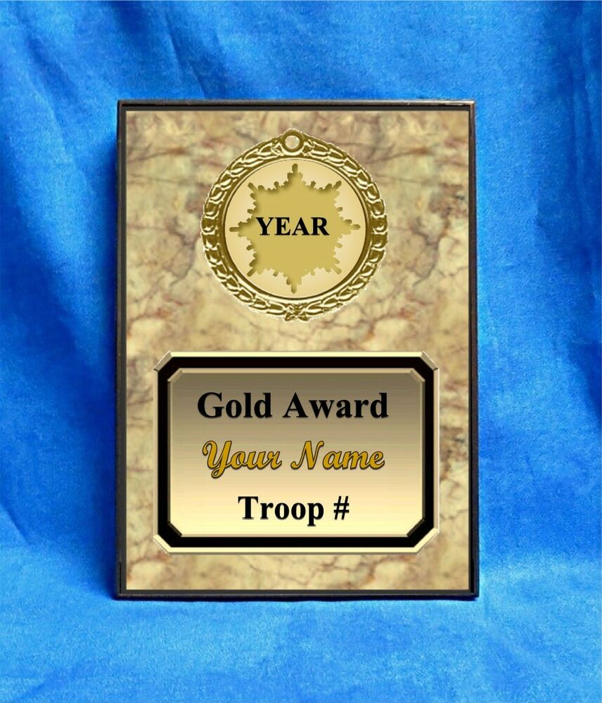 scout gold custom personalized award plaque gift scouts