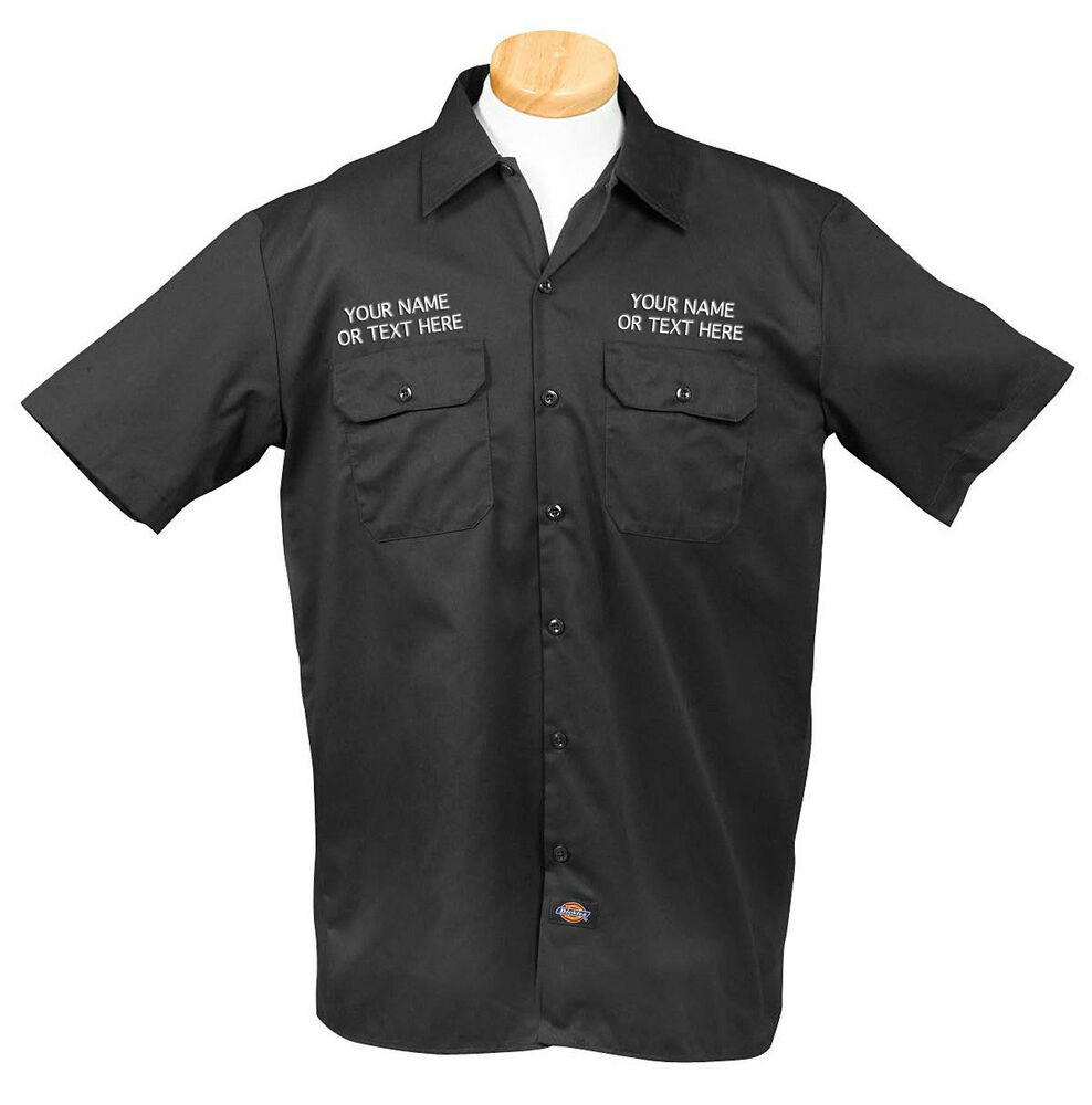 Dickies mens custom name text embroidered work uniform for Embroidered dickies work shirts