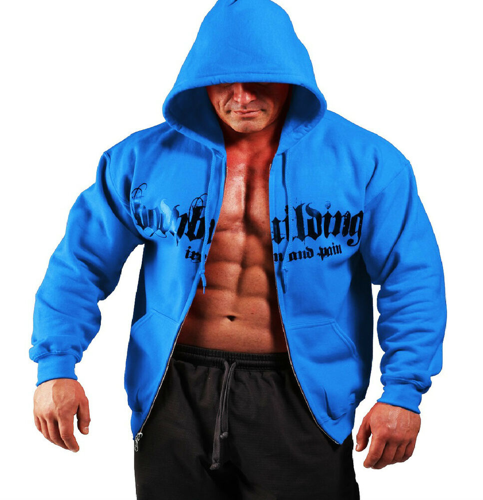 royal blue bodybuilding clothing zip hoodie workout top g