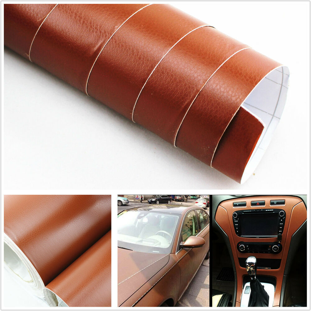 3d brown leather texture sheet film vinyl sticker car interior console c pillar ebay. Black Bedroom Furniture Sets. Home Design Ideas