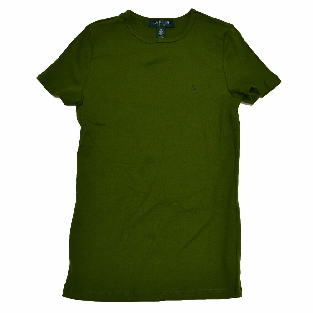 Polo Ralph Lauren Shirt Womens Olive Green Crew Neck