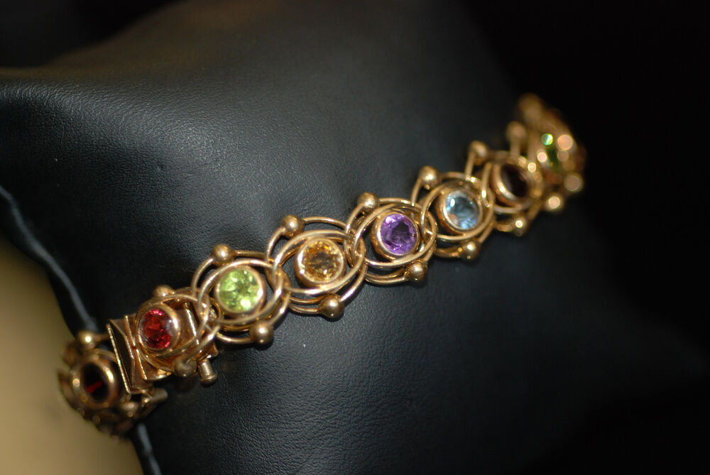 Original Retro Link Bezel Set Multi Semi Precious Stone