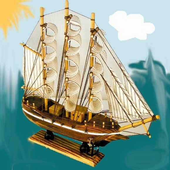 Wooden ship 13 inch boat nautical ships wood decor wood for Decoration yacht