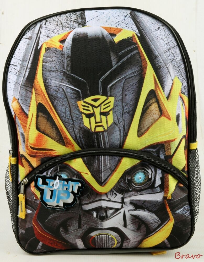 "Backpack Transformer Black: 2016 Brand New Transformers Big Face Bumblebee 16"" Large"