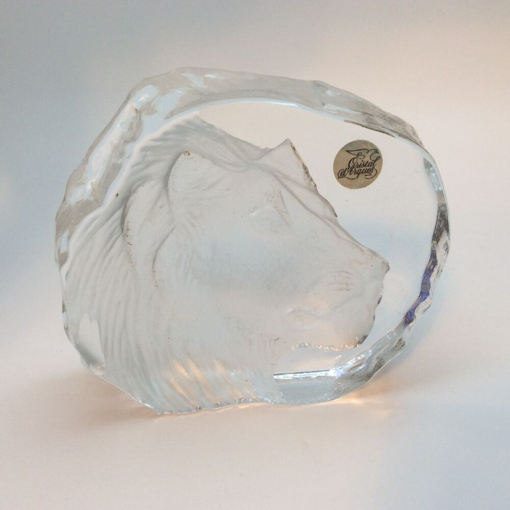 cristal d arques lion lead crystal paperweight france ebay. Black Bedroom Furniture Sets. Home Design Ideas