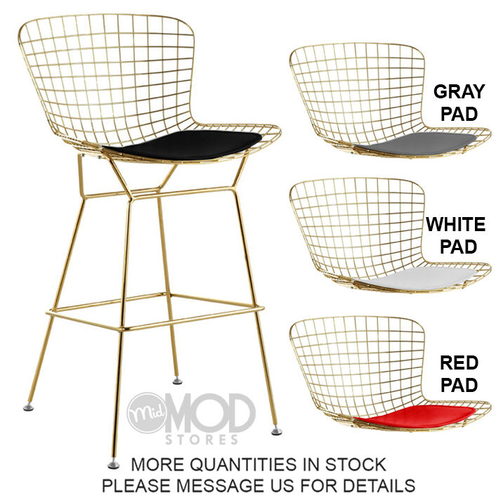 Wire Barstool With Seat Pad Wireback Barstool Modern Mid