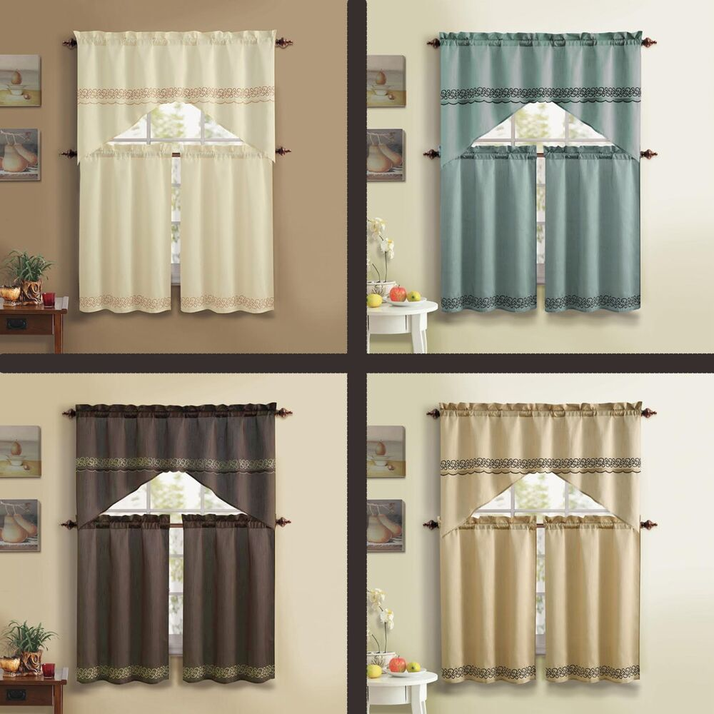 3 Pc Bellamy Kitchen Curtain Set With Embroidery Ebay