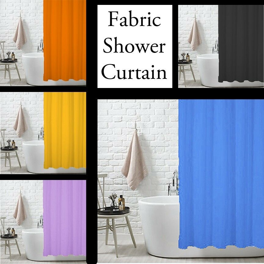 Fabric Shower Curtain Liner Metal Grommets Black Orange Yellow Blue Li